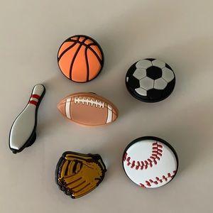 Lot of 6 sports themed croc charm jibbitz baseball